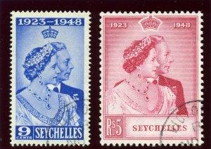 Seychelles 1948 KGVI Silver Wedding set complete VFU. SG 152-153. Sc 151-152.