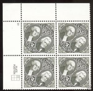 Catalog # 2592 Plate Block of 4 Washington & Jackson Diamond Shape