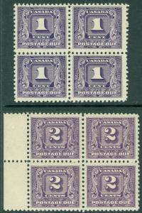 EDW1949SELL : CANADA 1930-32 Scott #J6-7 Blocks of 4. PO Fresh. VF MNH. Cat $140