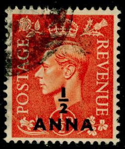 BRITISH POSTAL AGENCIES IN EA SG35, ½a on ½d pale orange, USED.