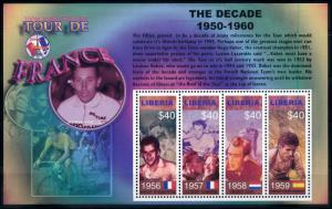 [78963] Liberia 2003 Cycling Tour de France Anquetil Bahamontes Sheet MNH