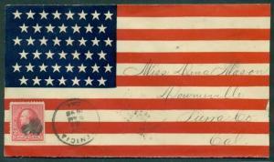 1898, Spanish American War Patriotic cover, 45 star flag, patriotic flag used