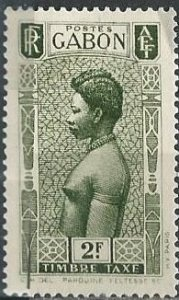 Gabon J32 (mh, slightly dg) 2fr Fang woman, dk grn (1932)