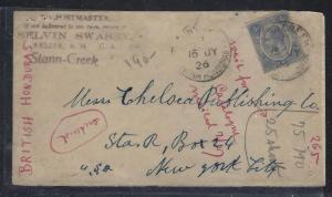 BRITISH HONDURAS  (PP2107B)  1926 FROM STANN CREEK TO USA
