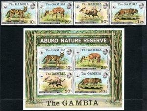 1976 Gambia WWF Abukoset w/ souvenir sheet SS MNH Sc# 341 / 344, a CV $135.50