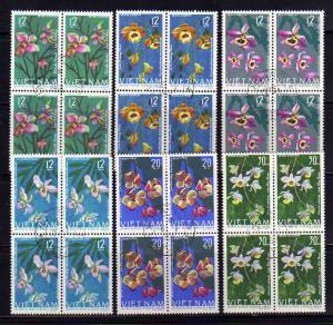 North Vietnam 406-411 Blocks of 4 Set U Orchids, Flowers