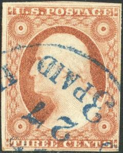 #11 VF-XF USED WITH PAID NUMERAL 3 BLUE CANCEL BP1926