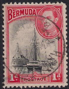 Bermuda 1938 - 52 KGV1 1d Ships in Hamilton SG 110 ( D1037 )