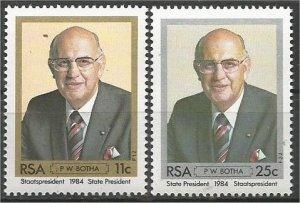 SOUTH AFRICA, 1984, MNH set, PW Botha Scott 646-647