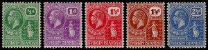 British Virgin Islands Scott 53, 55-57, 59 (1922-28) Mint H F-VF, CV $14.75 M
