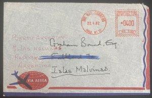 1982 Montevideo Uruguay Meter Cancel Cover To Maldives Falkland Island Argentian
