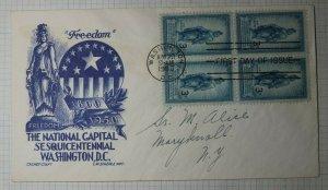FDC Cachet Craft Cover Staehle Sc# 989 Freedom NatlCapital Washington DC 1950
