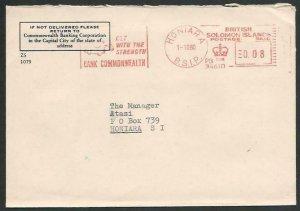 SOLOMON IS 1980 CW Bank cover 8c Meter ex Honiara..........................59126