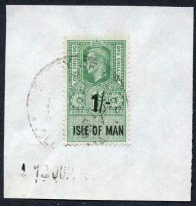 Isle of Man KGVI 1/- Key Plate Type Revenue Used on Piece