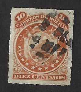 BOLIVIA Scott #27 Used 10c  Coat of Arms stamp 2022 CV $8.00