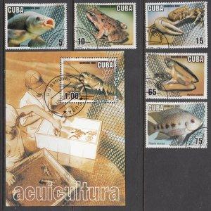 Cuba, Sc 4159-4164, CTO-H, 2001, Aquaculture