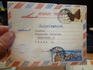 Mongolia Butterfly + Cow A/M cover to Czechoslovakia (39bef)