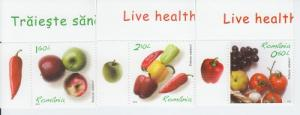 2012 Romania Live Healthy Fruits & Vegetables (5360-62) MNH