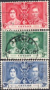 Ceylon #275-277 Used Set