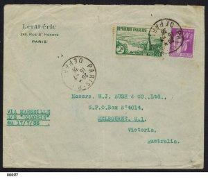 France 1936 Ship Letter SS Comorin to Melbourne Australia