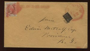1 Franklin & 15L13 Local Stamp on Cover 'PHILADA RAILROAD' Straight Line PF Cert