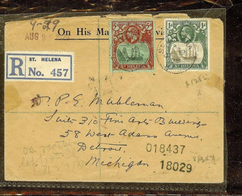 ST HELENA (P0210B) KGV 1D+5D ON REG 1929 COVER TO USA