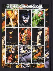 BATMAN History of Cinema Shlt(9) mnh Turkmenistan 2000 Perf.
