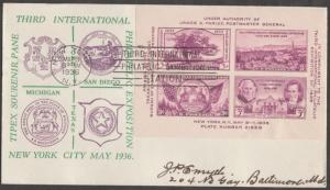 #774-4 THIRD INTN. PHILATIC EXPOSITION FDC BY KAPNER CACHET BN424