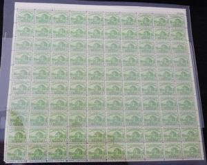 US #728 FULL SHEET of 100, F/VF mint never hinged, two stamps repaired, 11 st...