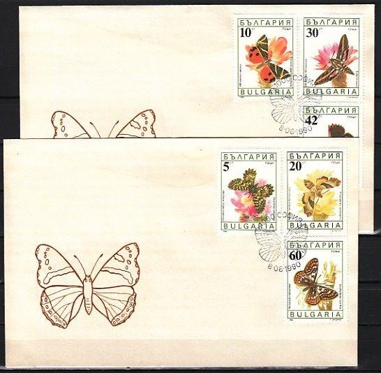 // Bulgaria, Scott cat. 3551-3556. Moths on 2 First day covers.