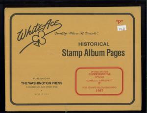 1987 White Ace United States Commemorative Singles Stamp Album Supplements P