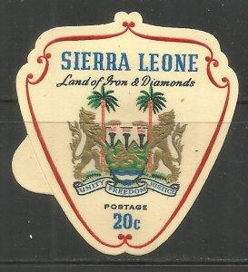 SIERRA LEONE  315  HINGED, SELF ADHSV., COAT OF ARMS