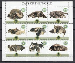 Turkmenistan, 1999 Russian Local. Cats of the World sheet of 9. Scout logo.