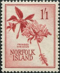 Norfolk Island 1960 SG31 1/1d Hibiscus MLH