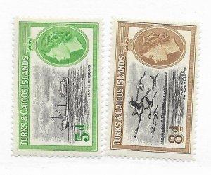 Turks & Caicos #119-120 MH CAT VALUE $4.05