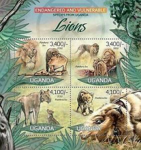 Uganda - Endangered Species - Lions - 4 Stamp  Sheet - 21D-041