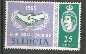 ST. LUCIA, 1965, MH 25c, Intl. Cooperation, Scott 200