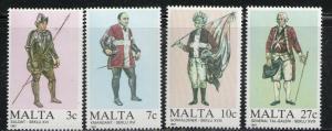 MALTA 1987 MNH SC.696/699 Military Uniforms