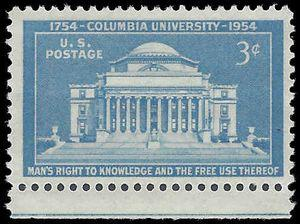 #1029 3c 200th Anniversary of Columbia University 1954 Mint NH