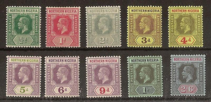 Northern Nigeria 1912 GV Mint Selection Cat£42 (10v)