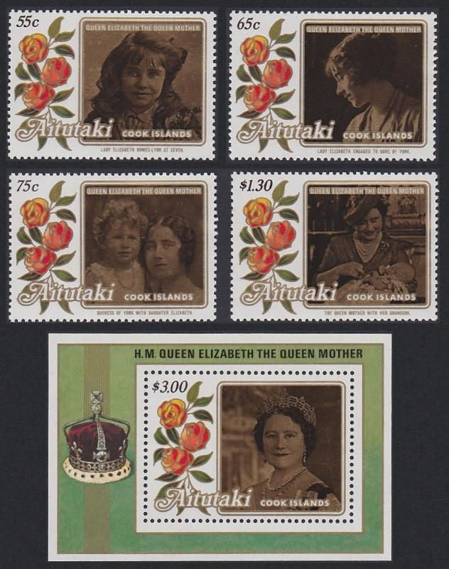 Aitutaki Life and Times of Queen Elizabeth the Queen Mother 4v+MS SG#523-MS527
