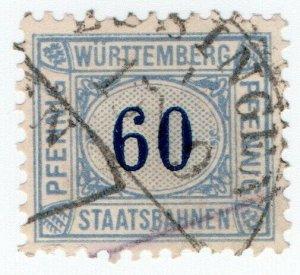 (I.B) Germany Railway : Wurttemburg Staatsbahnen 60pf