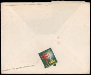 USA 2c Prexie Ozark Ill 4-Bar England Transatlantic Cover 80747