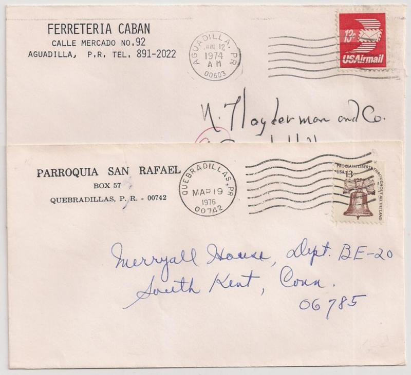 2 ca 1970s covers from Puerto Rico 13c #1595 & C79 Aguadilla