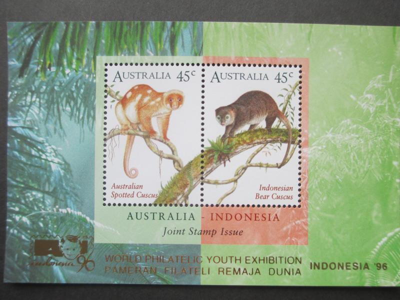 AU 1996 SG MS1588 O'PT WORLD PHILATELIC YOUTH EXHIBITION PAMARAN INDONESIA MNH
