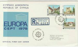 Cyprus 1978 Registered Double CEPT Cancels FDC Buildings Stamps Cover Ref 27659