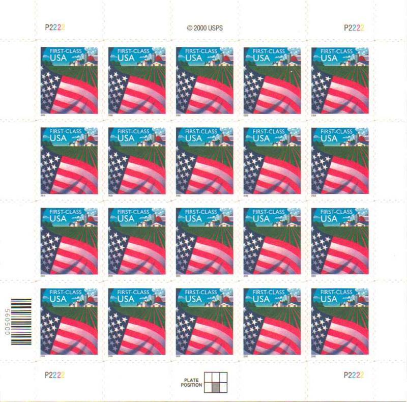 US 3449 - 34¢ Flag Over Farm Unused