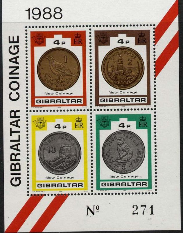 Gibraltar 556 MNH Coins on Stamps