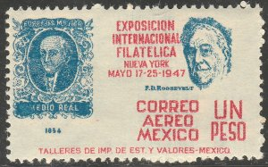 MEXICO C169, $1P Cent Int Philatelic Exhib FDR & Mexico #1 MINT, NH. VF