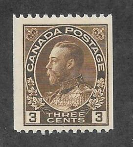 Canada Scott #134 Mint 3c King George V Horizontal Perf 12 Coil  2015 CV $11.00